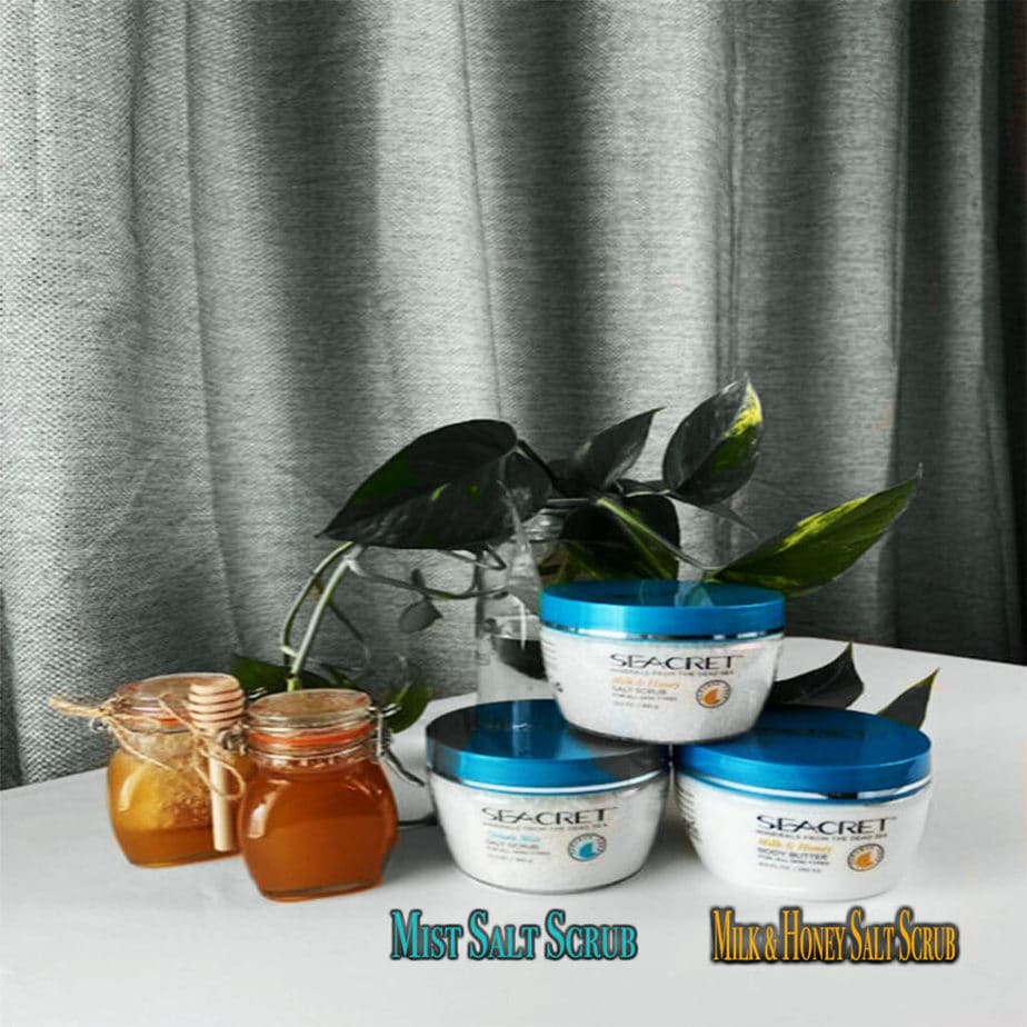 MINT MIST AND MILK & HONEY SALT SCRUBS MADE FROM MINERALS FROM THE DEAD SEA, FROM THE SEACRET BODY CARE LINE.