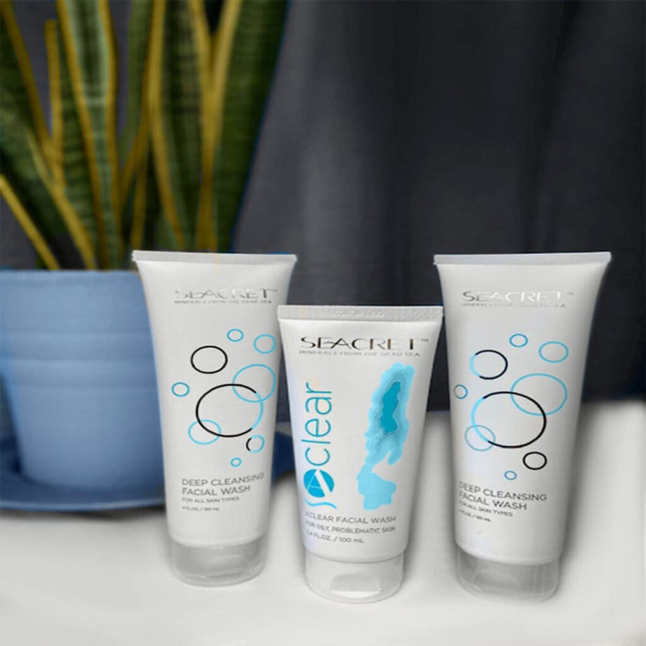THESE PRODUCTS ARE FROM THE SEACRET SKIN CARE LINE. THE SEACRET DEEP CLEANSING FACIAL WASH COLLECTION BY SEACRET SKIN CARE MADE WITH ENRICHED MINERALS FROM THE DEAD SEA.