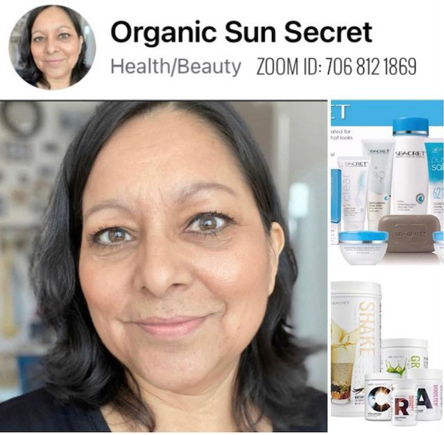 THERESA PALMA DIRECT SEACRET AGENT PROFILE PICTURE. ON THE TOP RIGHT SEACRET SKIN CARE PRODUCTS MADE WITH MINERALS FROM THE DEAD SEA. ON THE BOTTOM RIGHT LIFE BY SEACRET NUTRITIONAL SUPPLEMENTS PLANT BASED, VEGAN, KOSHER, NON-GMO, NO WHEY OR DAIRY, SOY AND GLUTEN FREE.